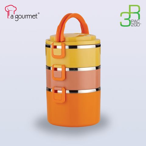 La gourmet® New Millennium PAC2GO  2.4L 3 tier Tiffin carrier w-304 stainless steel insert2.jpg