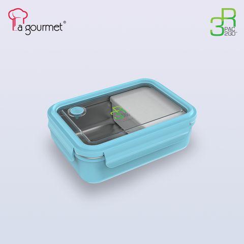 PAC2GO 800ml Rectangular lunch box with 304 stainless steel insert (blue).jpg