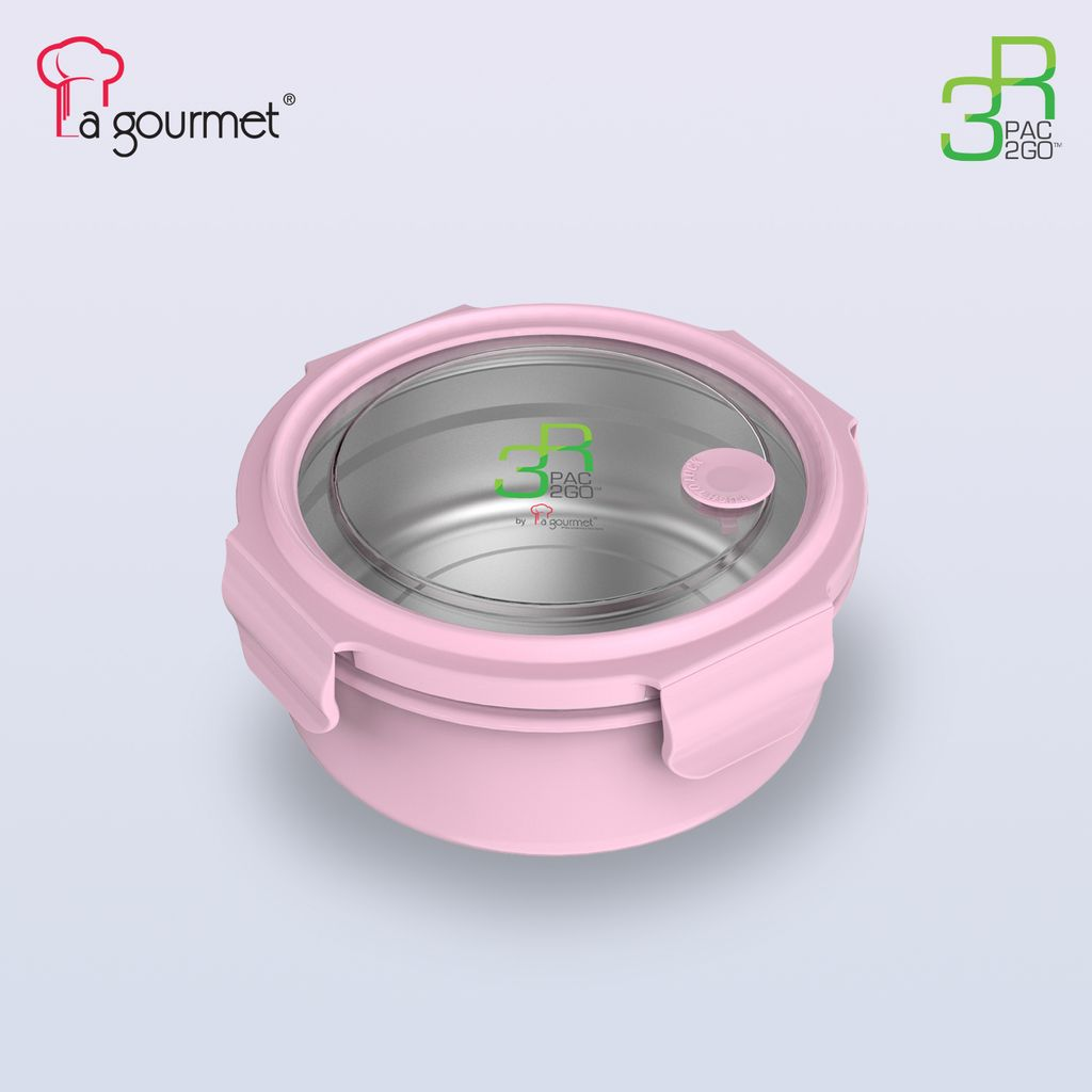 PAC2GO 700ml Round lunch box with 304 stainless steel insert (PINK).jpg