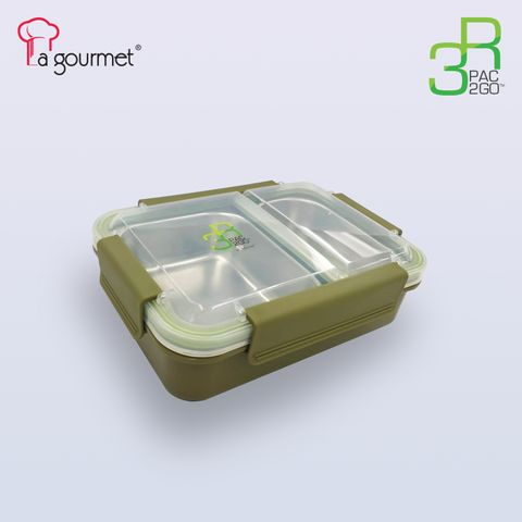 PAC2GO 750ml 2 compartment 304 stainless steel insert leak proof lunch box with army green body & clip.jpg