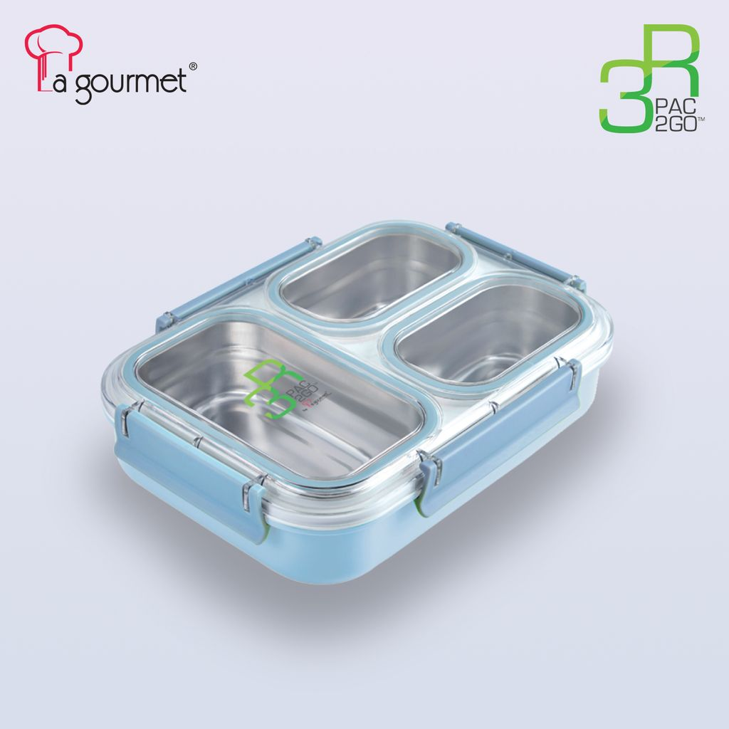 PAC2GO 1.2L 3 compartment 304 stainless steel insert leak proof lunch box with powder blue body & clip.jpg
