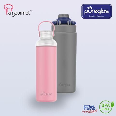 La gourmet® Pureglass Bottle with Silicone Sleeve.jpg