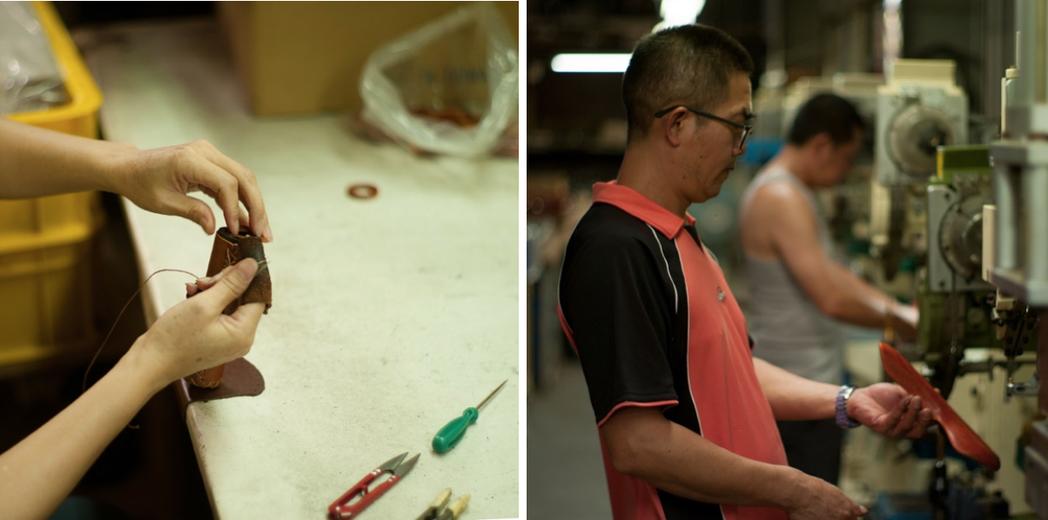 改造廢棄單車使用皮製座墊和手把,串連起臺灣長年做單車零件外銷的座墊、車籃工廠、組...