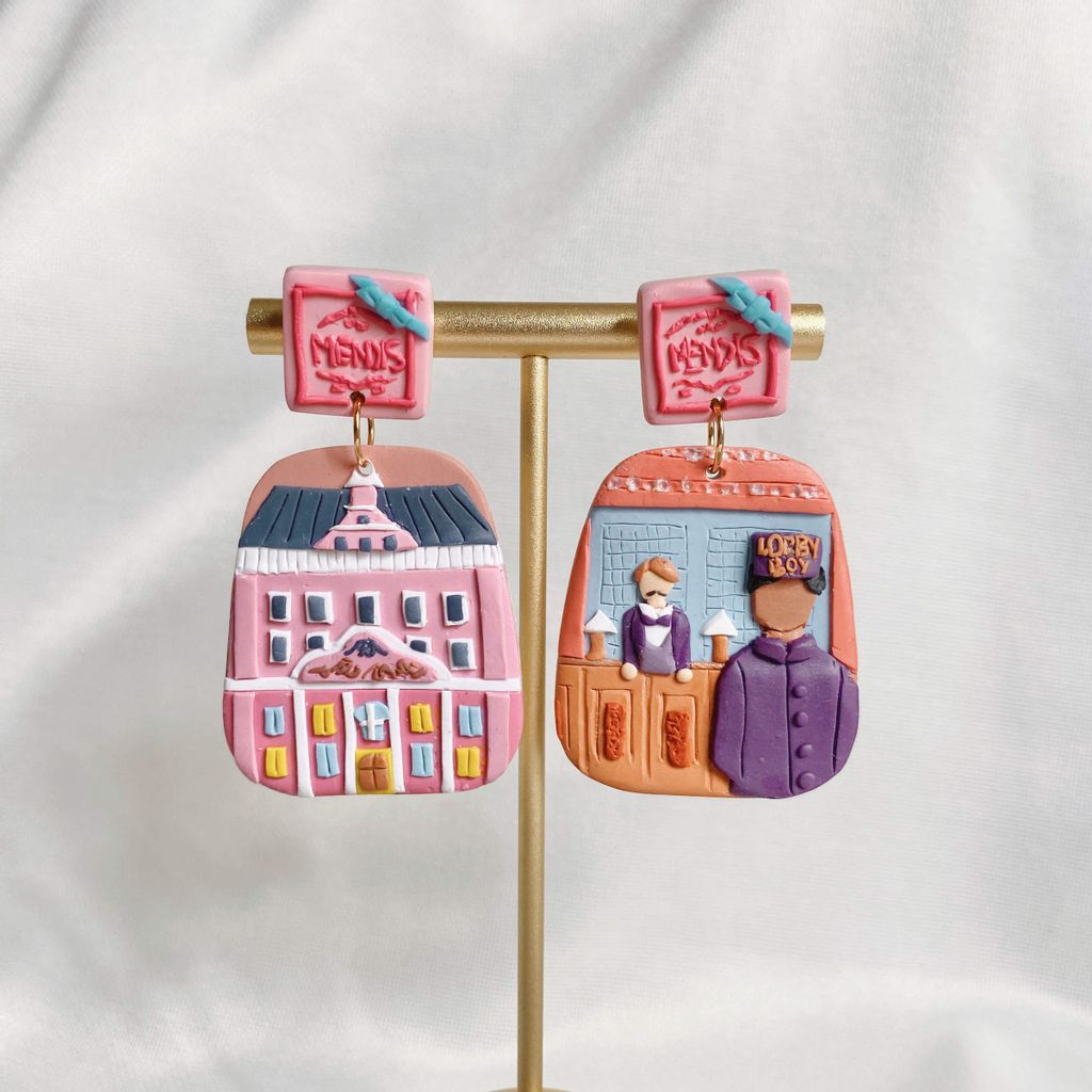 040-2 The Grand Budapest Hotel Statement Earrings With Mendl's Box closeup 2.JPG