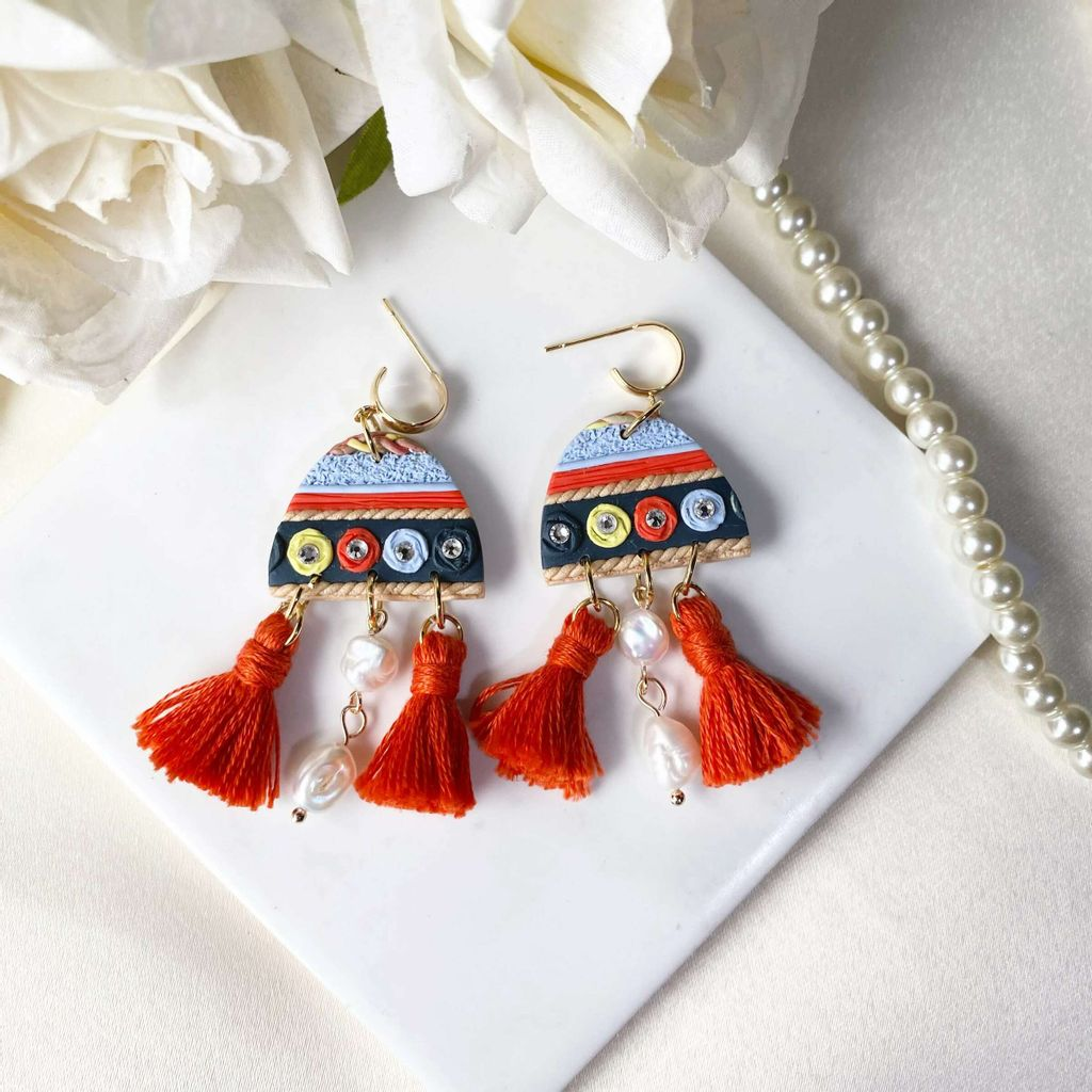 063-1 Tribe Collection Dome Tassels and Freshwater Pearl Statement Earrings.jfif