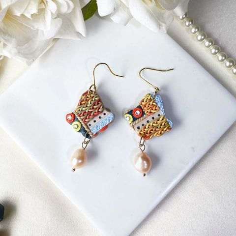 063-4 Tribe Collection Aurora Freshwater Pearl  Hook Earring.jfif