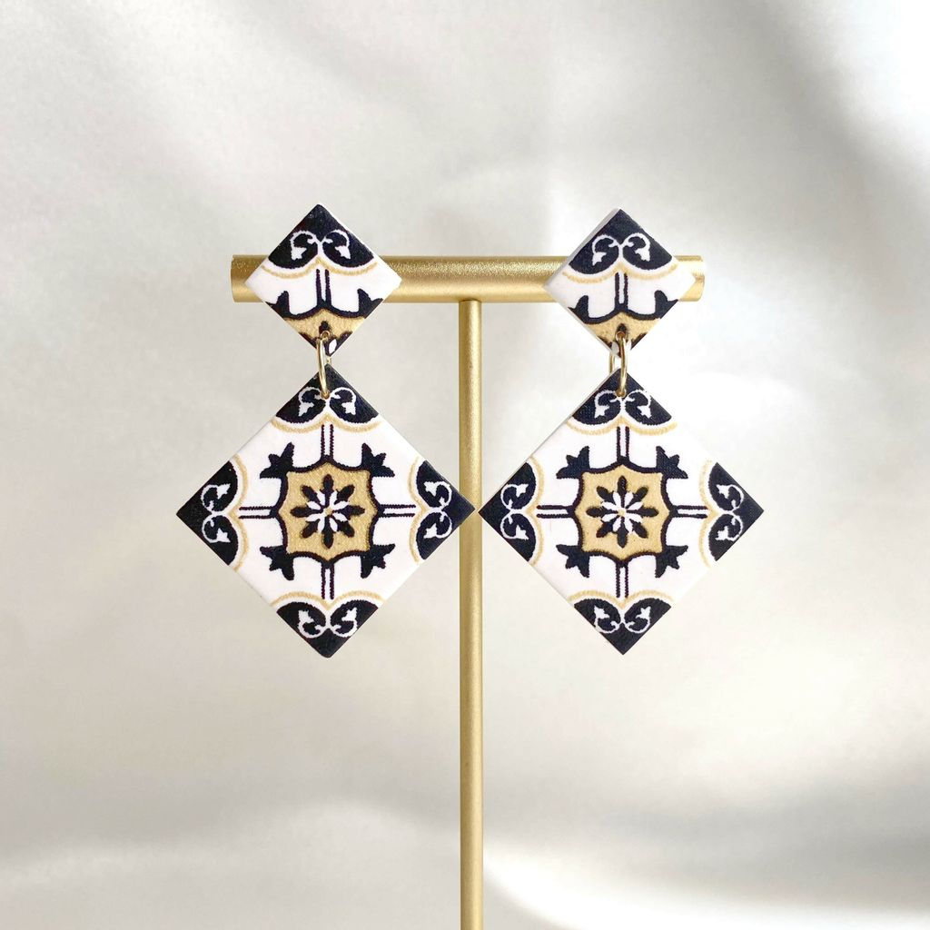 065-1 The Great Gatsby Tiles With Clay Studs Statement Earrings A.jfif