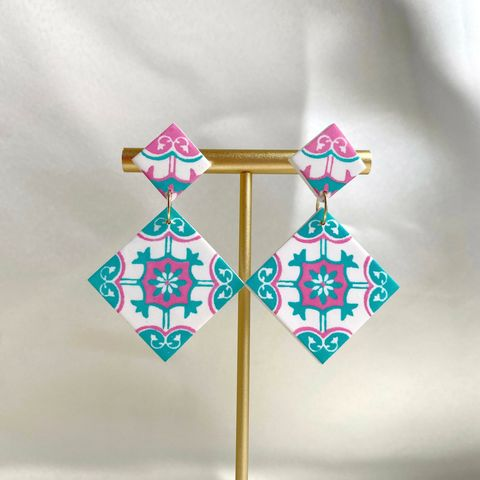 066-1 Pastel Peranakan Tiles With Clay Studs Statement Earrings A.jpg