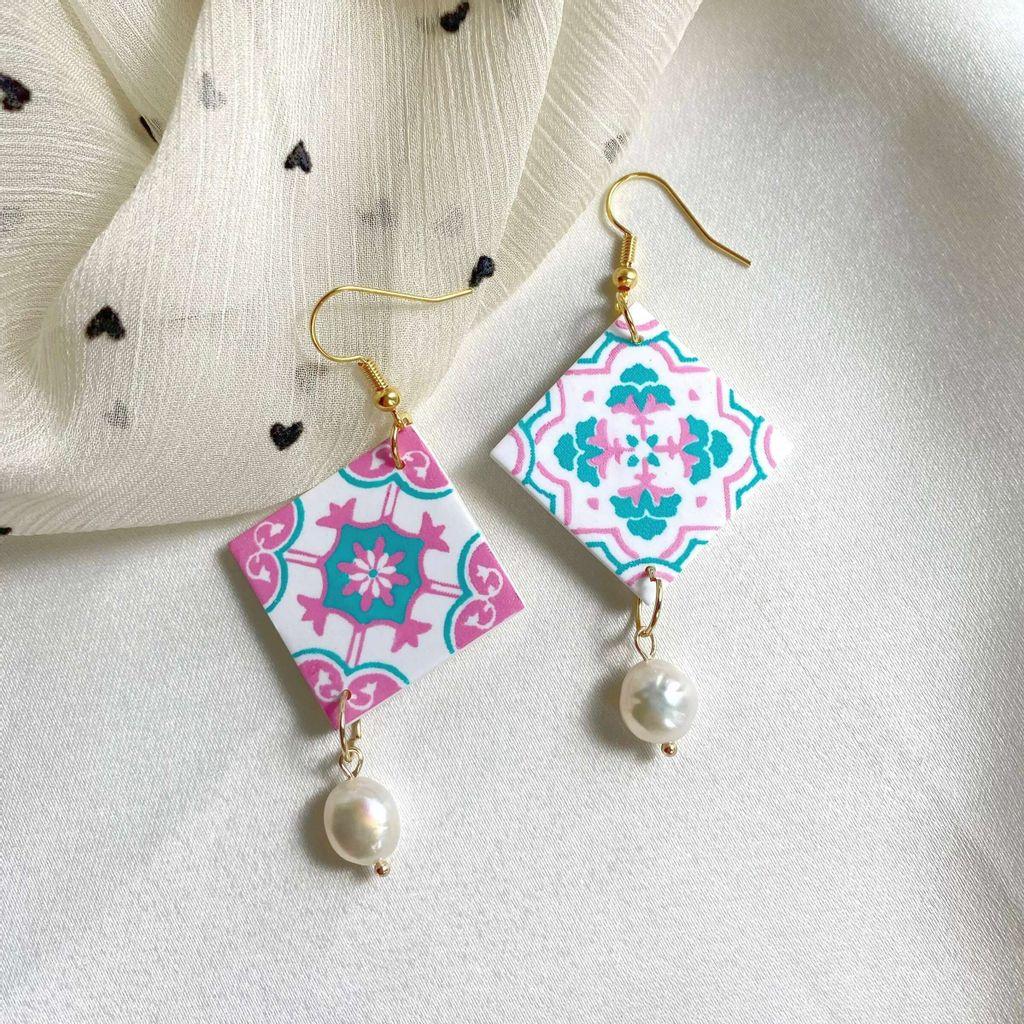 066-6 Pastel Peranakan Tiles With Freshwater Pearl Hook Dangle Earrings A.jpg