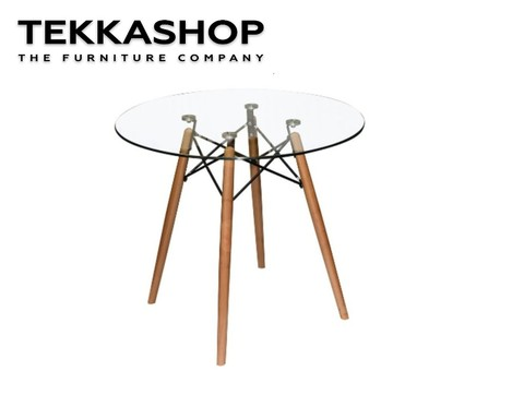 SFDT0511-71 Funky Style Glass Table Top Round Dining Table With Wooden Legs.jpg