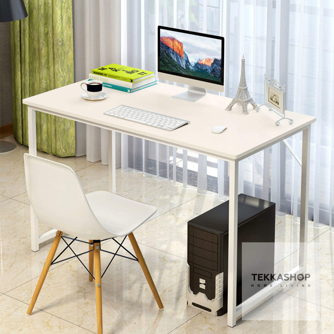 Tekka Gdot1358b Wooden Study Desk Laptop Table Home Office Working With Steel Legs 120cm X 55cm 90cm Beige