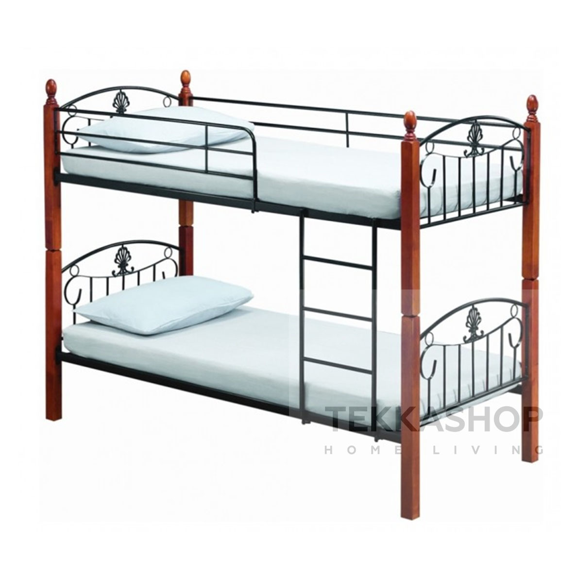 Tekkashop Gdbb2783bl Wooden Metal Frame Double Decker Bunk Bed Metal Bed Frame Single X2 Not Includes Mattress