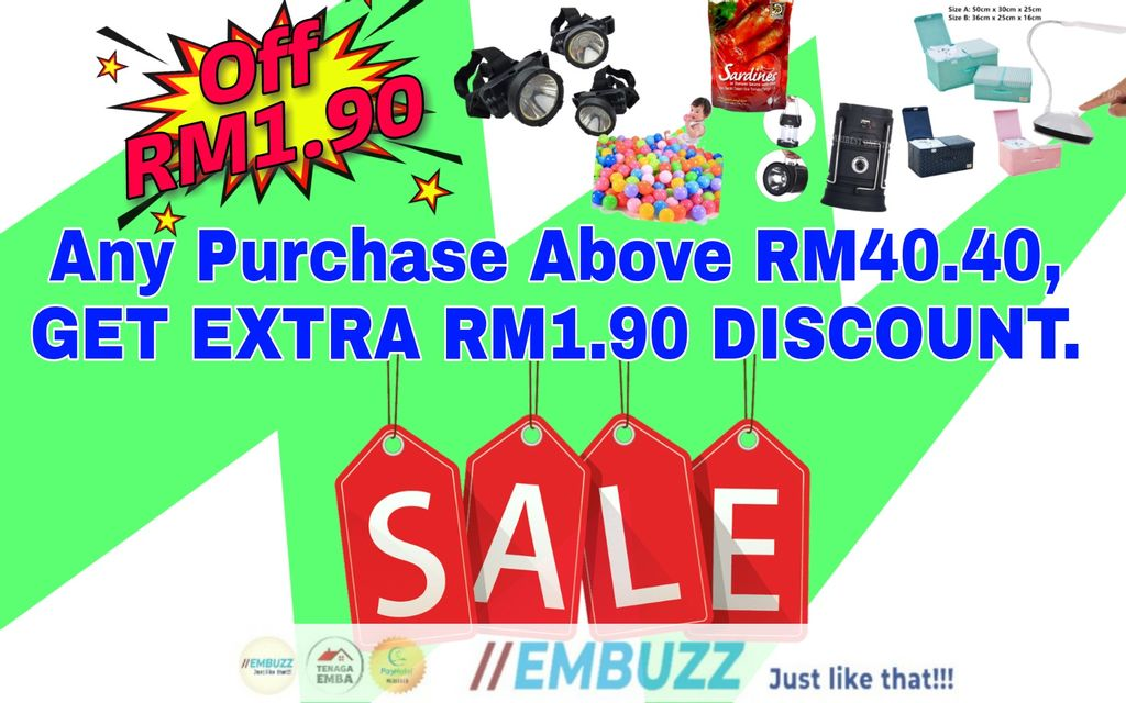 Pay Above RM40.40, Get Another RM1.90 Discount...