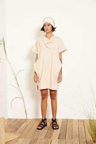 Kio_Drape_Dress_Cream_1