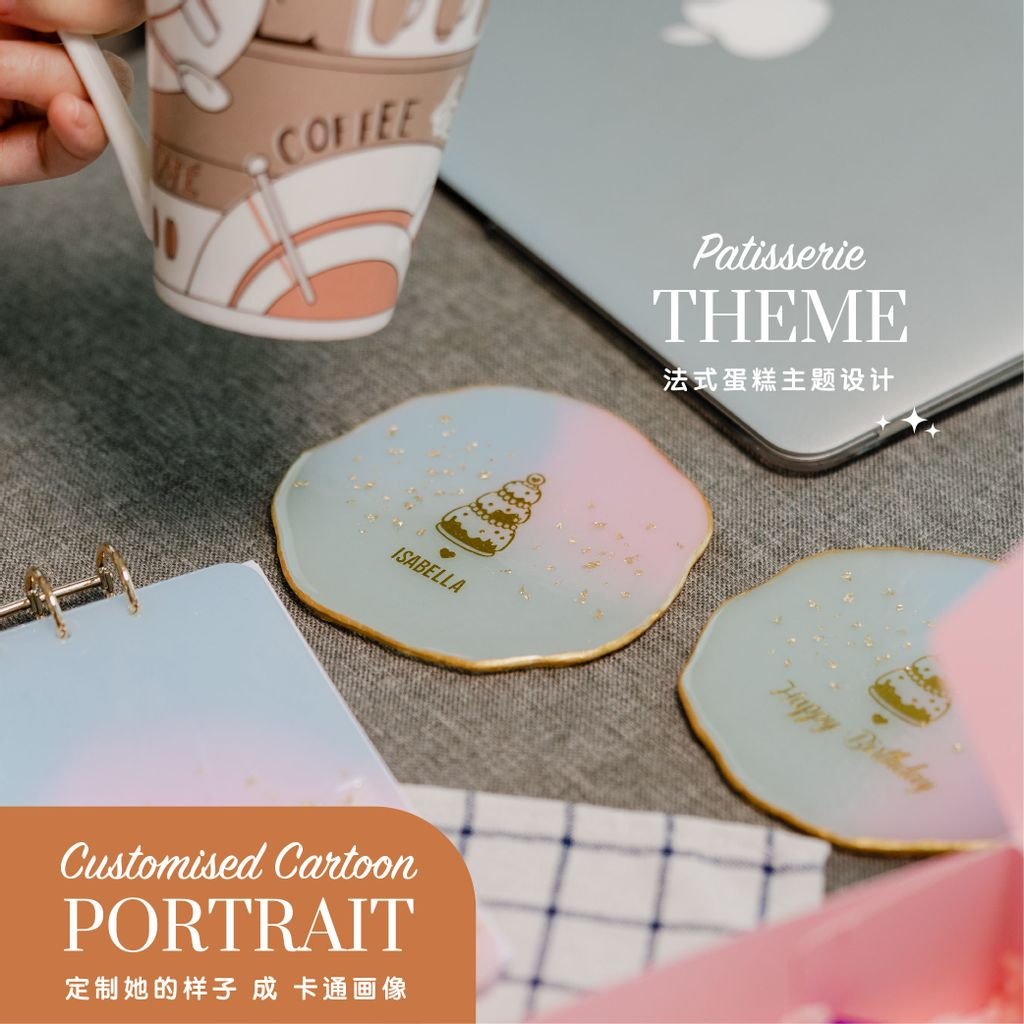 Customised Coasters, A5 Notebook & Keychain   Pastisserie Theme-01.jpg