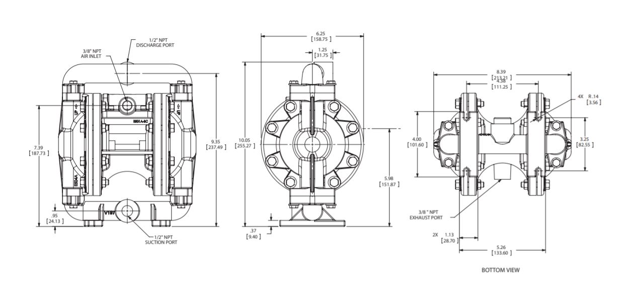 Versamatic 1/2 inch Bolted Metal Air Operated Double Diaphragm Pump Dimension Drawing. JPG
