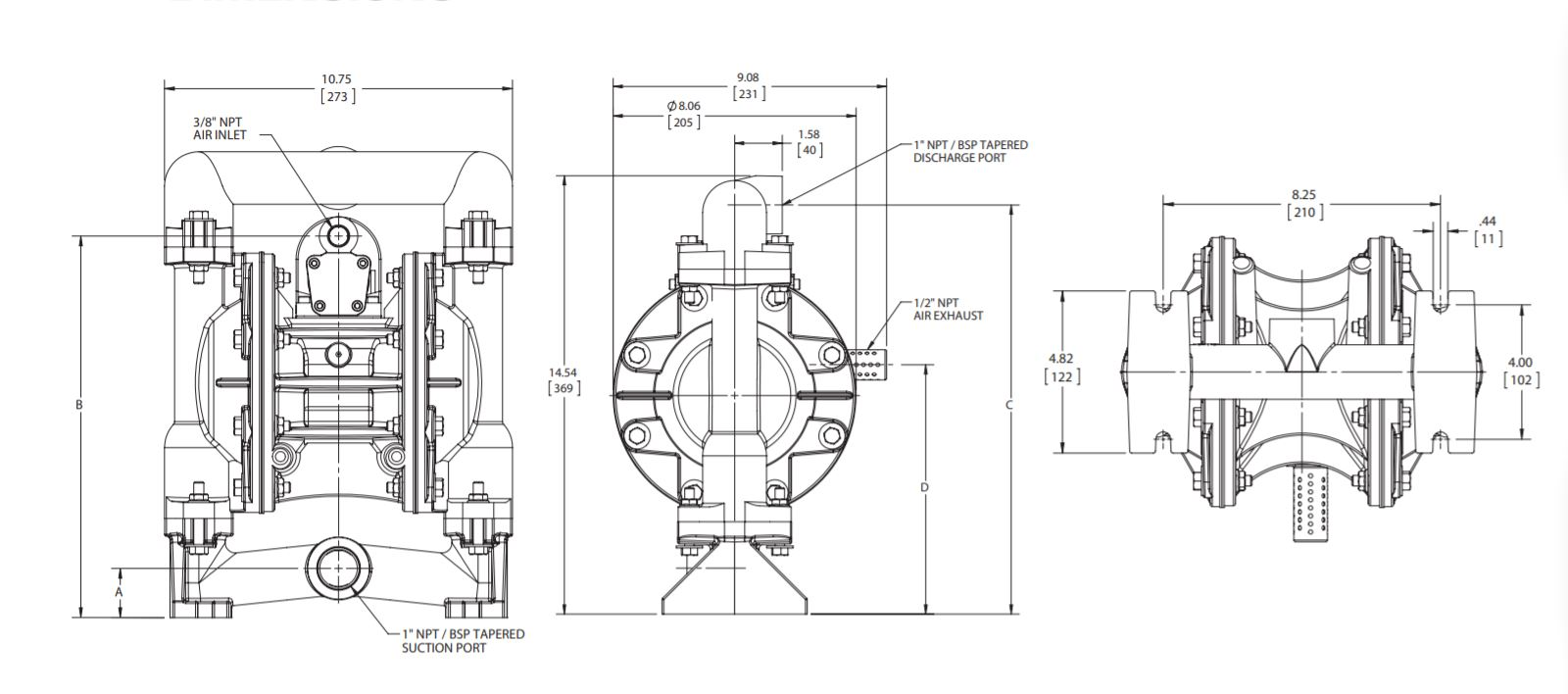 Versamatic 1 inch Bolted Metal Air Operated Double Diaphragm Pump Dimension Drawing. JPG