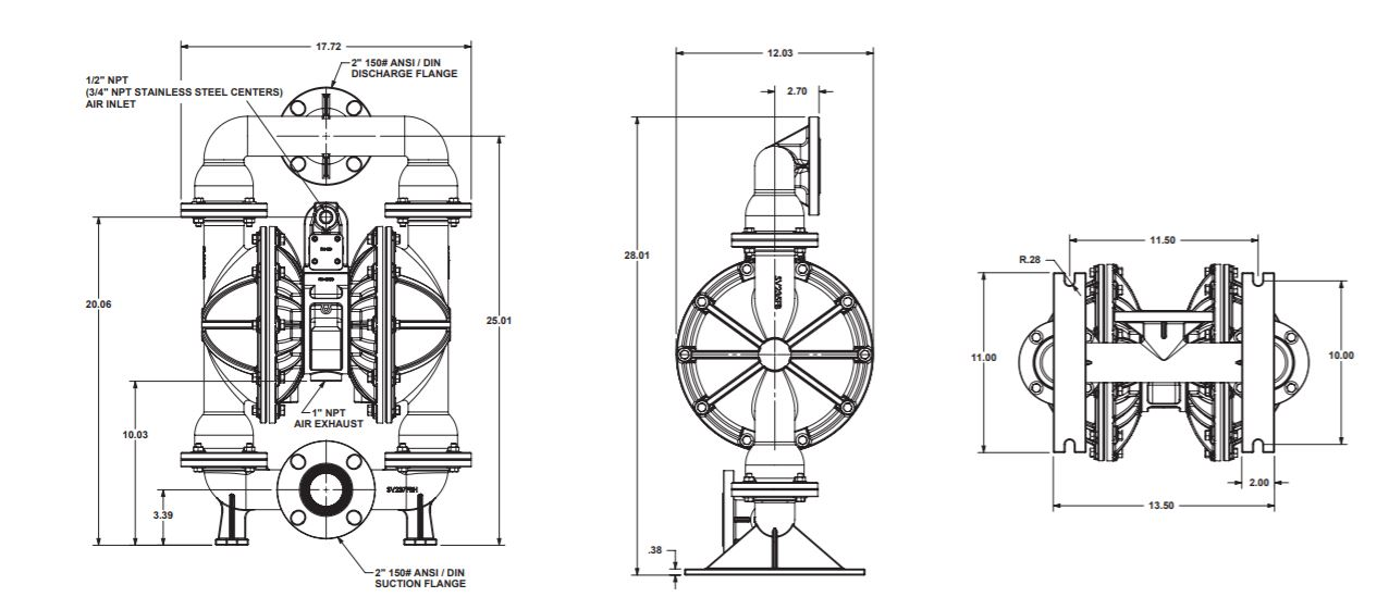 Versamatic 2 inch Bolted Metal Air Operated Double Diaphragm Pump Dimension Drawing .JPG