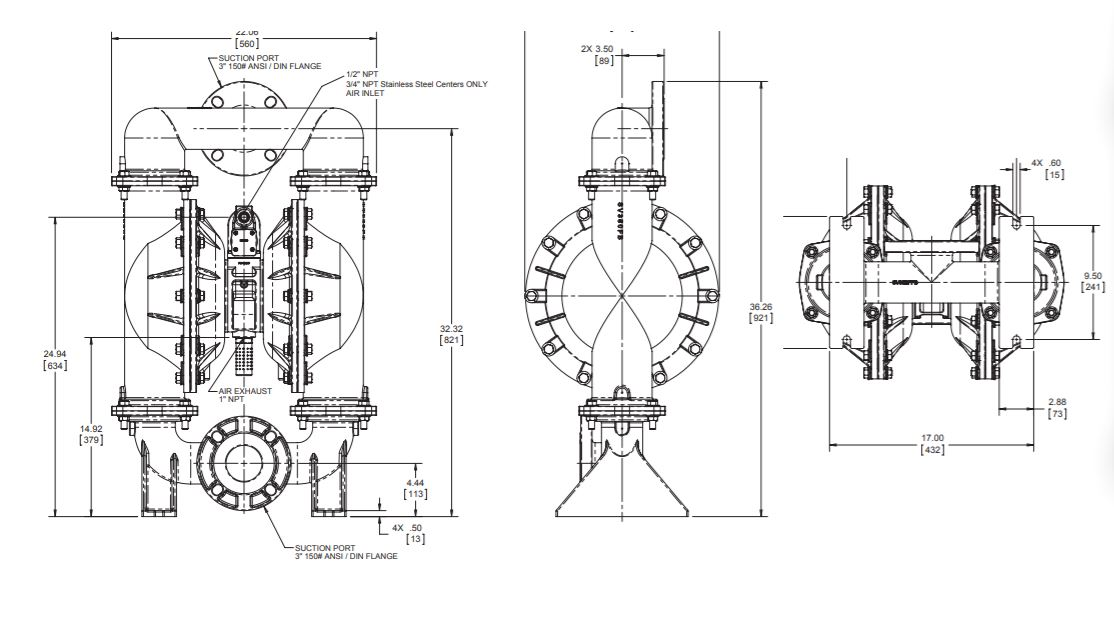 Versamatic 3 inches bolted metal air operated double diaphragm pump dimension drawing . JPG