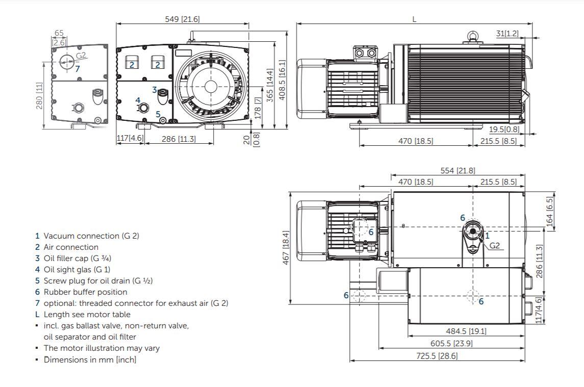 Becker U5.300 Oil Lubricated Rotary Vane Vacuum Pump Dimension Drawing .JPG