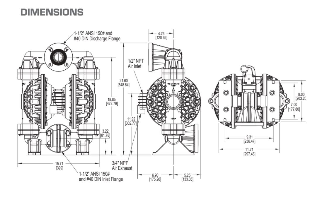 Versamatic Bolted Plastic Air Operated Double Diaphragm Pump Dimension Drawing .JPG