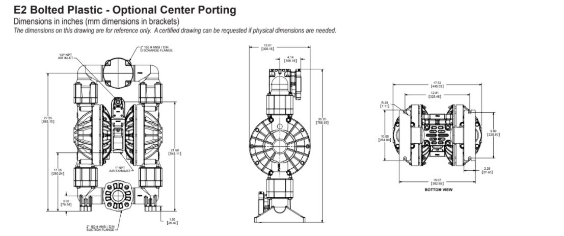 Versamatic 2 inch Bolted Plastic Air Operated Double Diaphragm Pump with Optional Center Porting Dimension Drawing .JPG