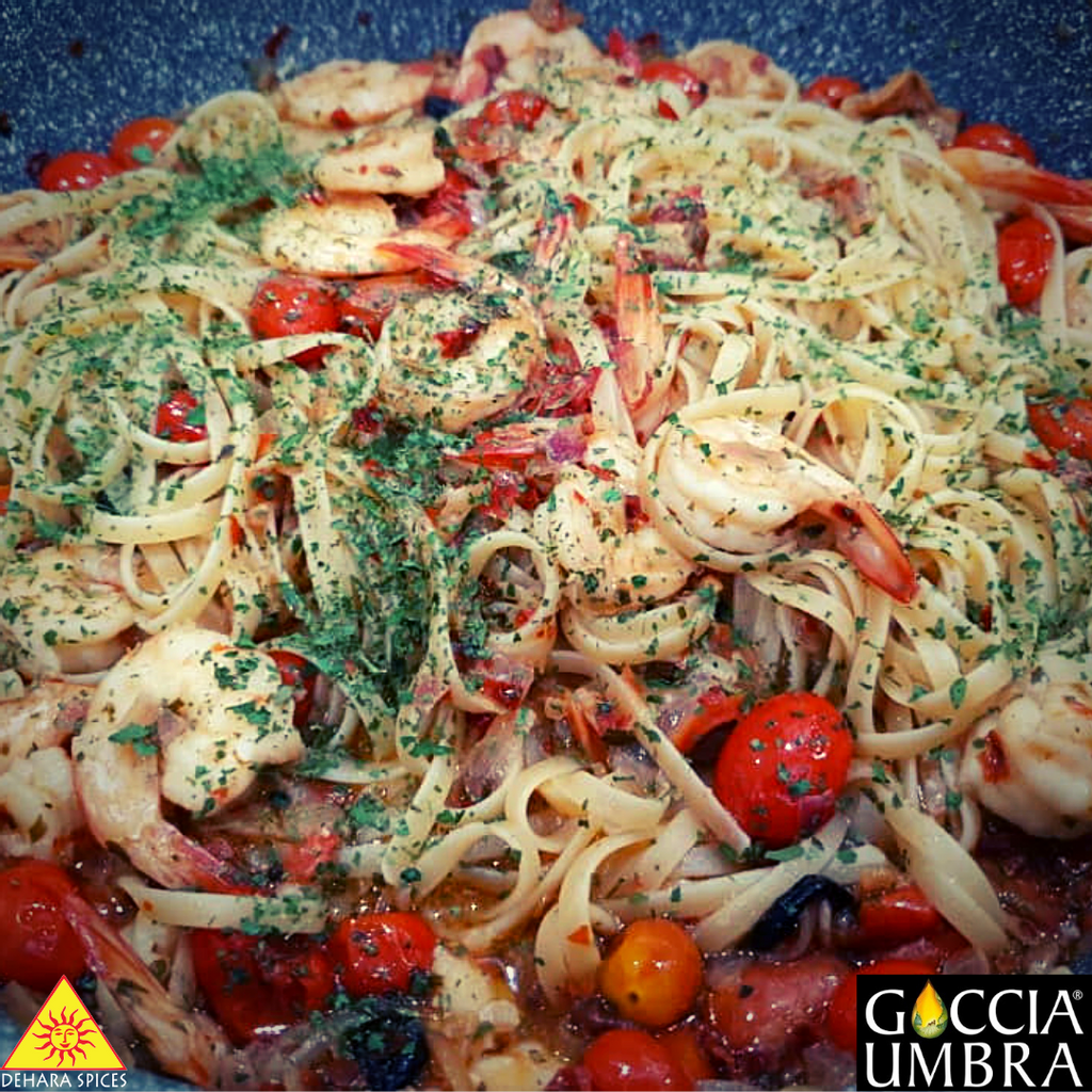 Puttanesca with prawns and cherry tomatoes roasted in balsamic vinegar (serves 4)