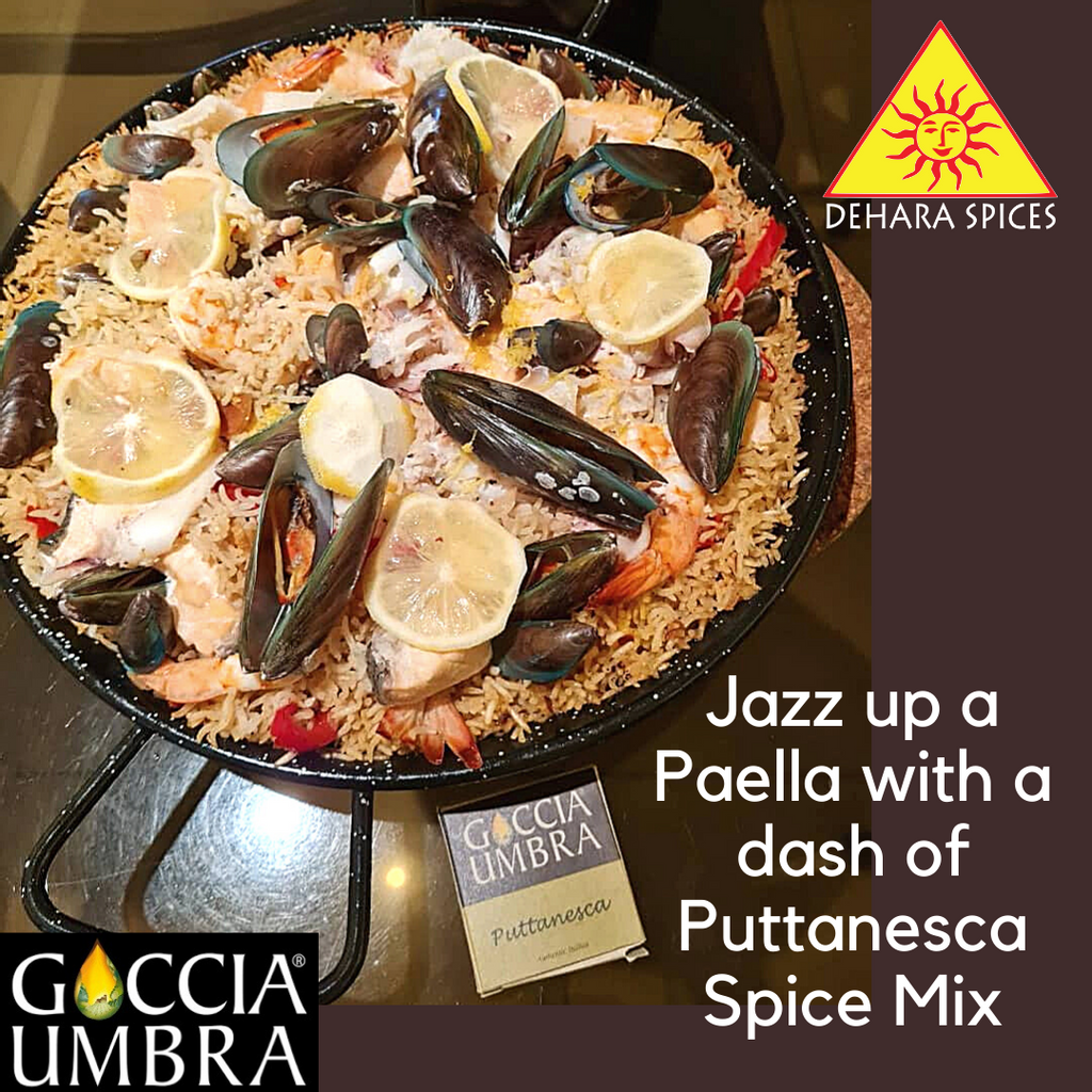 Seafood Paella with a dash of Puttanesca Spice Mix