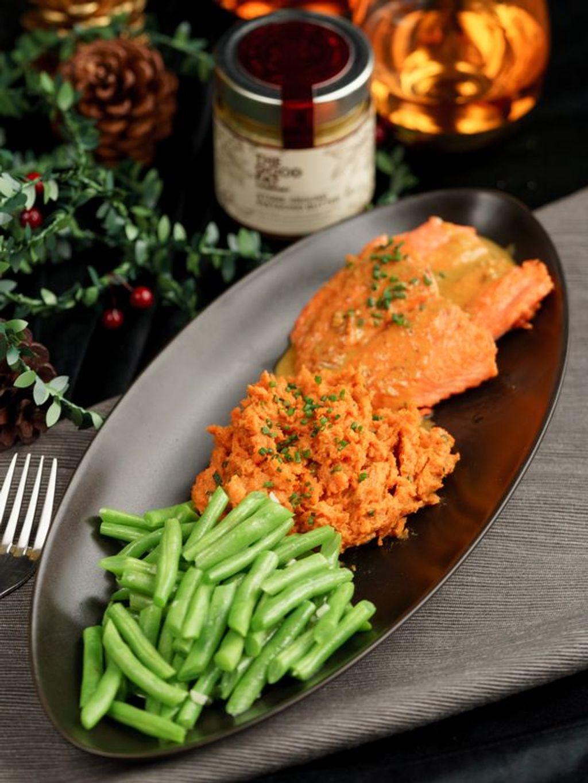Salmon with Brown Butter Pistachio Sauce and Hazelnut Sweet Potato Mash