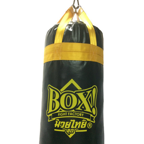 BOX!_Muay-Thai-serie_FAT-punching-bag_ 4-feet-BLACK-yellow-strap.JPG