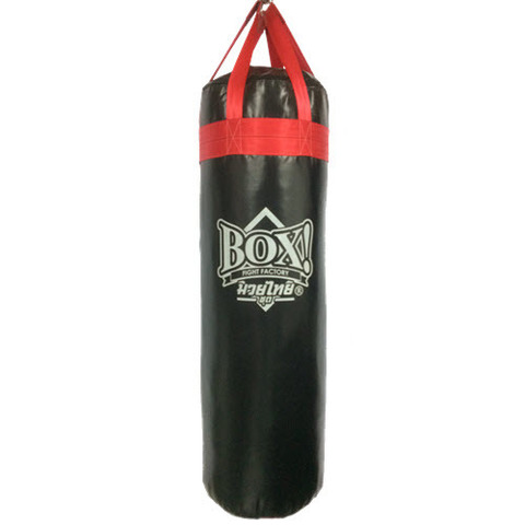 BOX!_Muay-Thai-serie_FAT-punching-bag_ 4-feet-BLACK-RED-strap.JPG