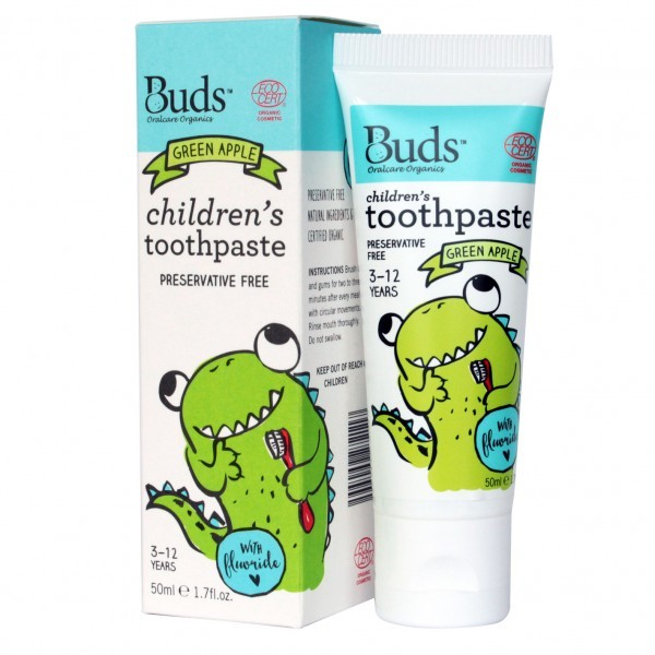 Buds Organics Children's Toothpaste with Fluoride - Green Apple (50ml)
