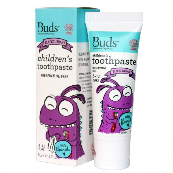 Buds Organics Children's Toothpaste with Fluoride - Blackcurrant (50ml)