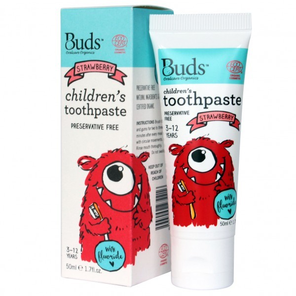 Buds Organics Children's Toothpaste with Fluoride - Strawberry (50ml)