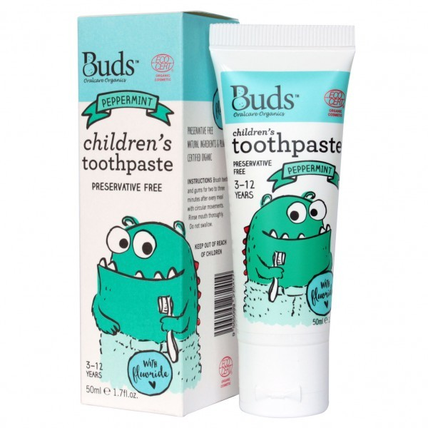 Buds Organics Children's Toothpaste with Fluoride - Peppermint (50ml)