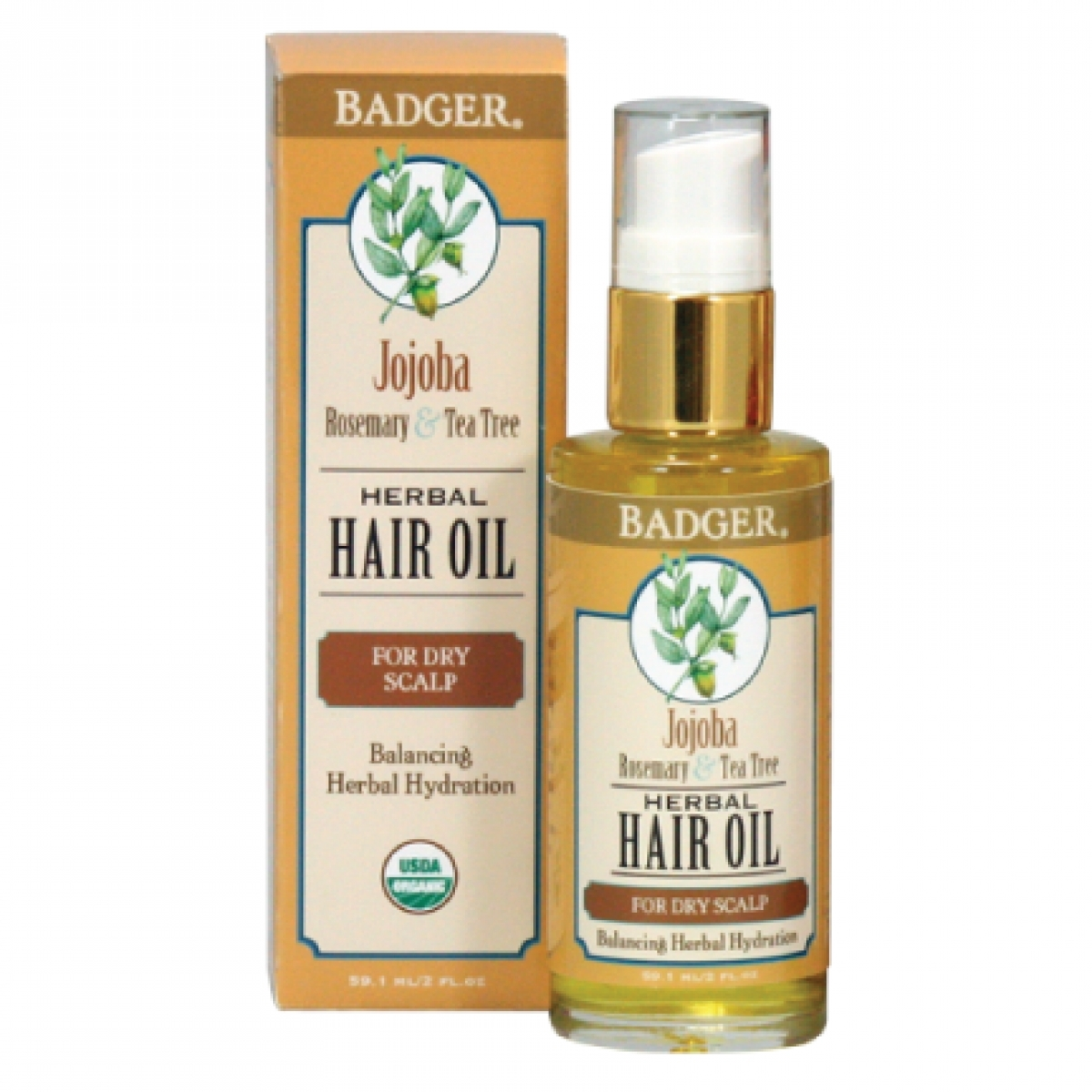 Badger Jojoba Herbal Hair Oil (2oz)