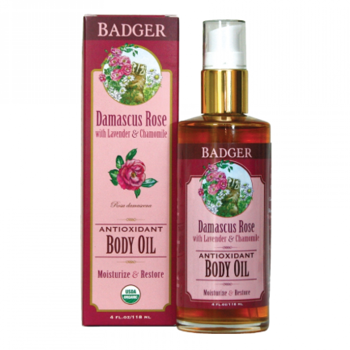 Badger Damascus Rose Antioxidant Body Oil (4oz)