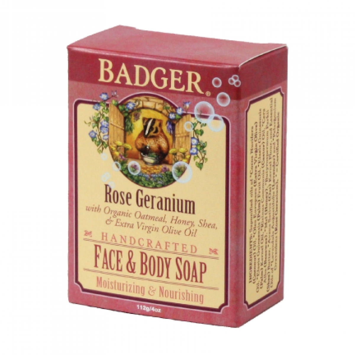 Badger Rose Geranium Face & Body Soap (4oz)