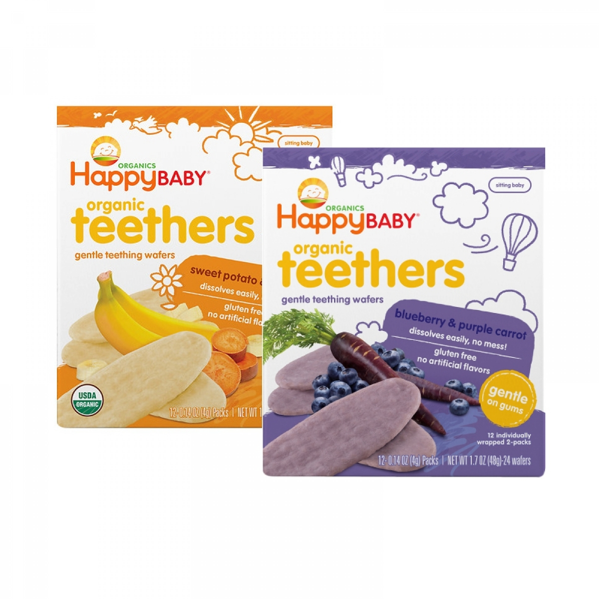 Happy Baby Organic Teething Wafers (Twin Pack)
