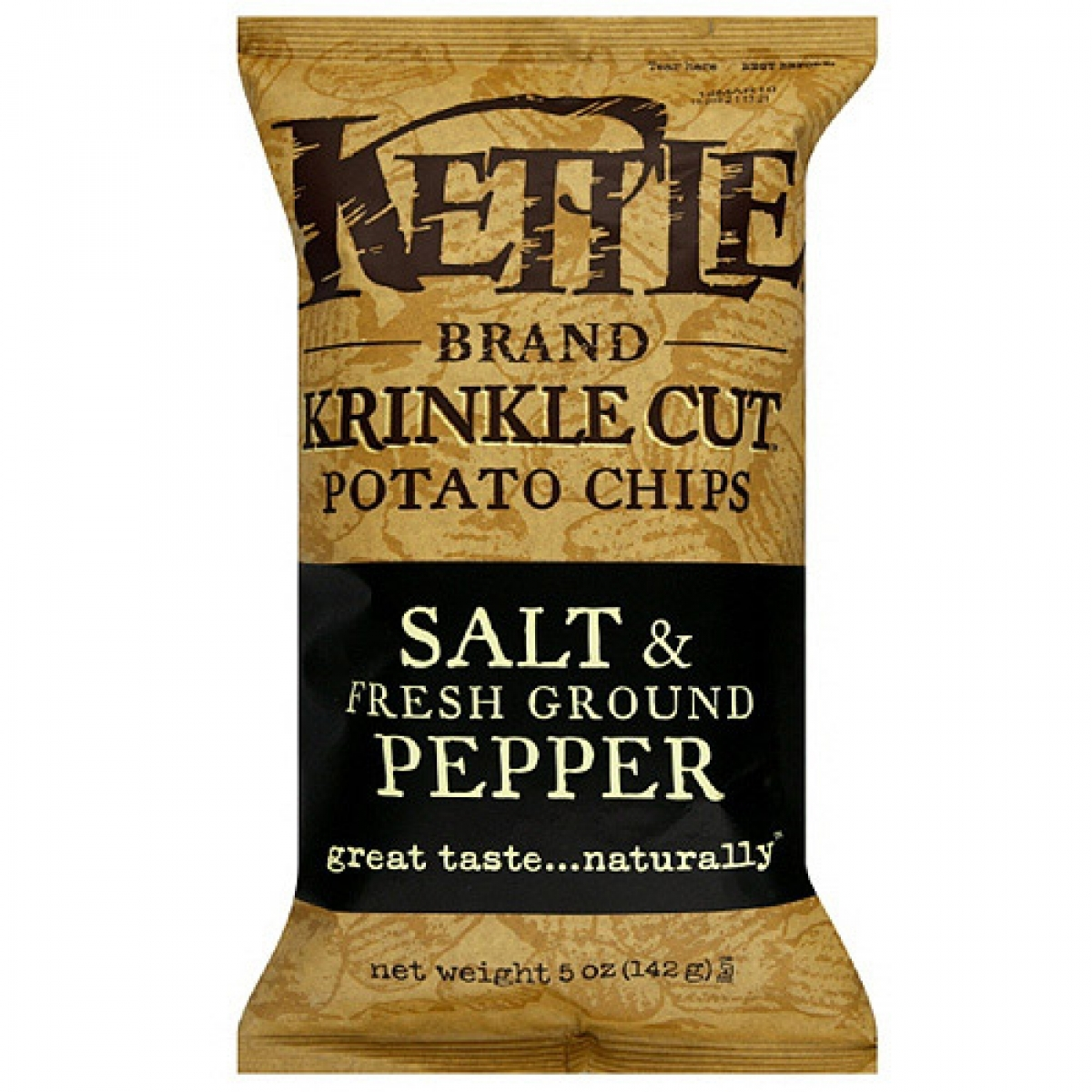 Kettle Brand Krinkle Cut Potato Chips – Salt & Fresh Ground Pepper (Regular 5oz)