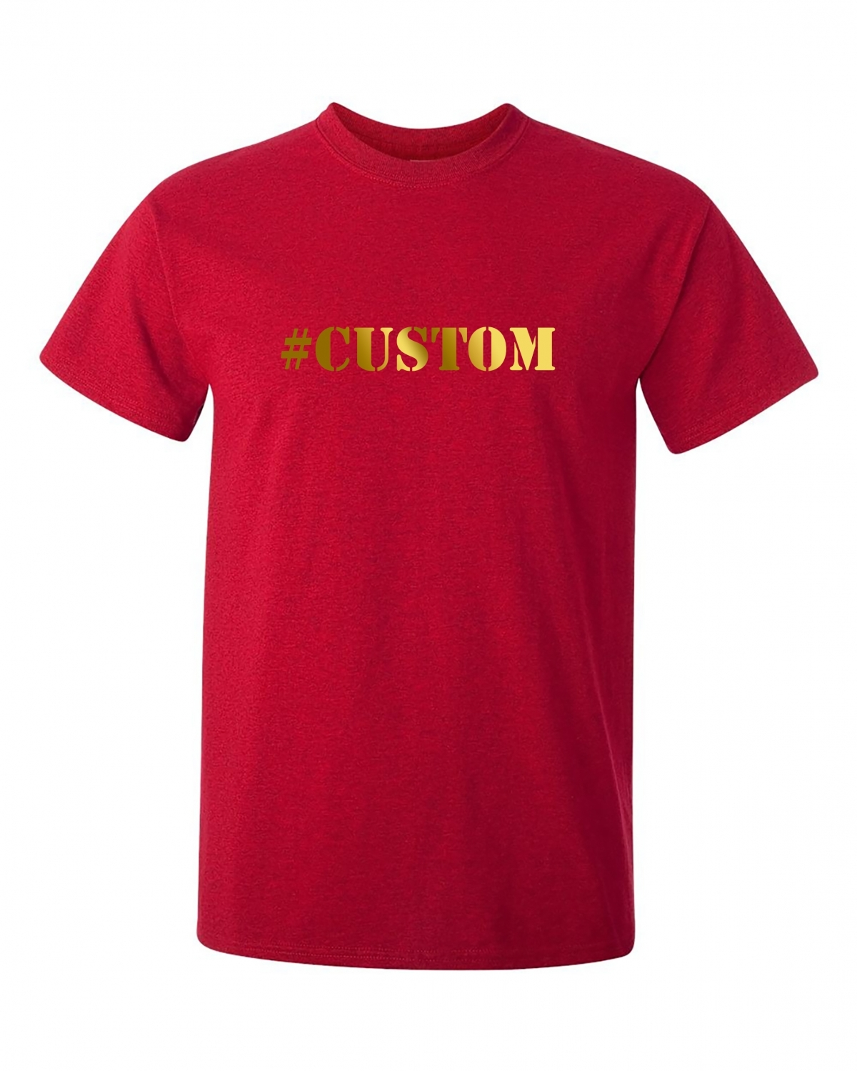 Personalized Hashtag Red T Shirt With Gold Printing Flossy