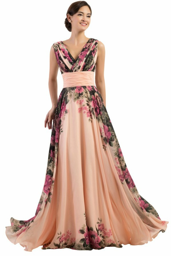 MTO] Flower Pattern Floral Print Chiffon Evening Gown Long Prom ...