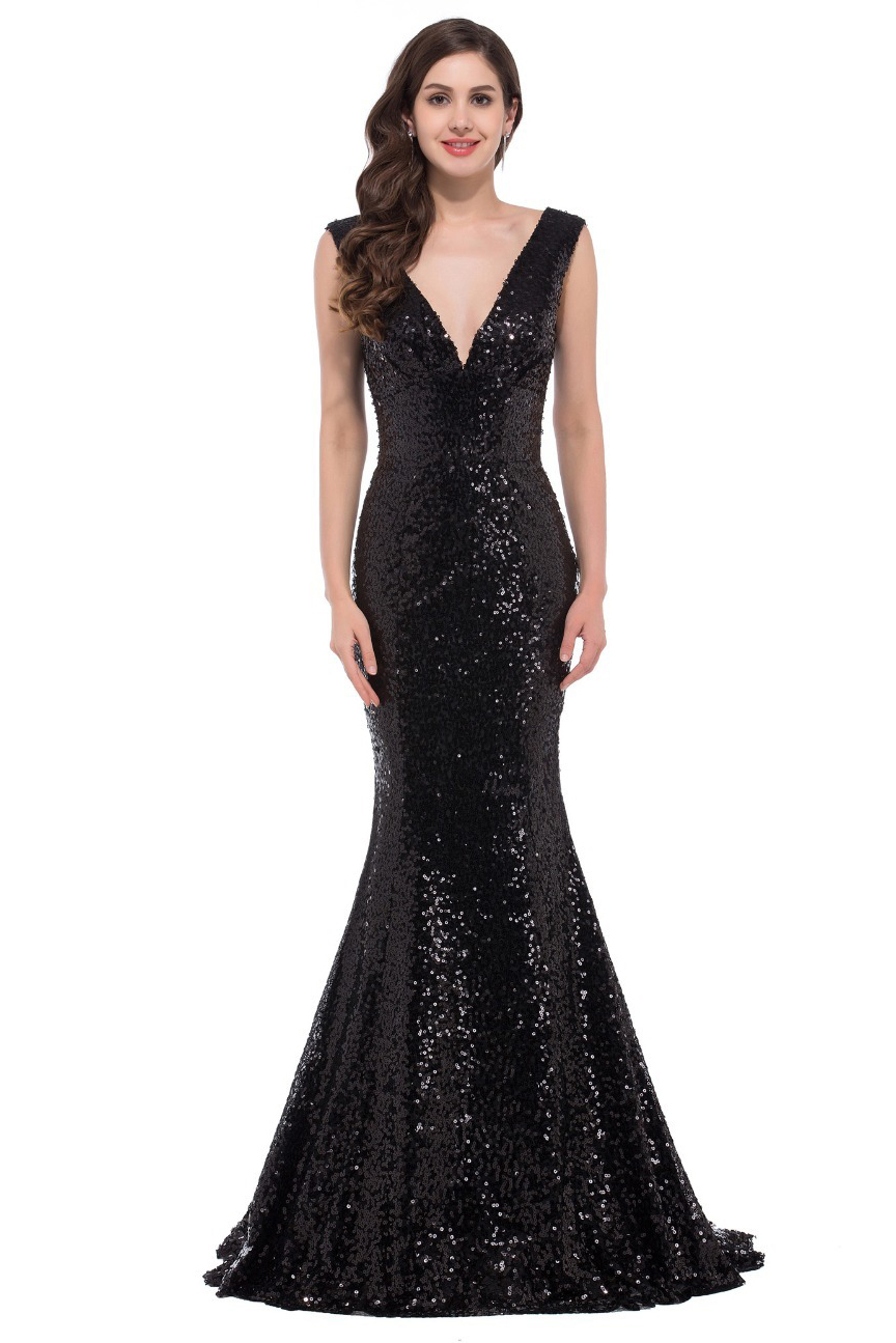 MTO] Luxury Long Evening Dress Sequin Mermaid Evening Gown - Black ...