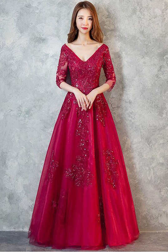 MTO] Elegant Wine Red Half Sleeve Ball Gown Evening Gown – Ladies ...