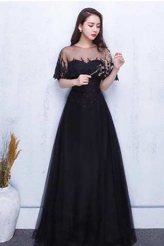 BUY NOW.  MTO  Soft Tulle Sleeve Lace Evening Long Gown 66e44429b