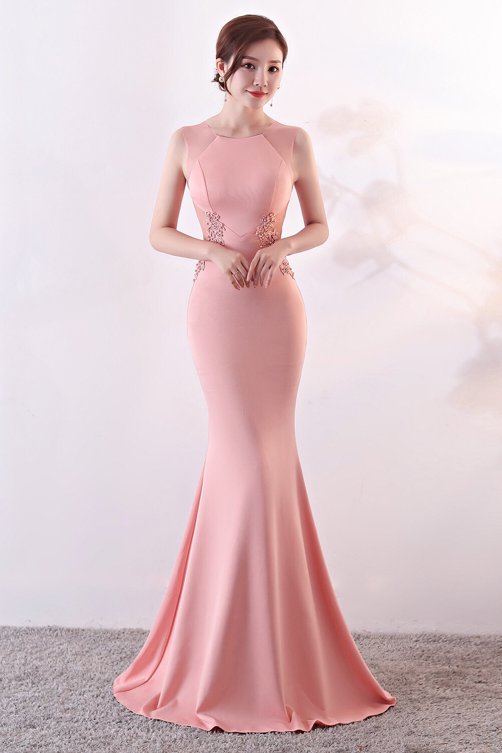 latest selection of 2019 sneakers for cheap well known [MTO] Elegant Simple Bodycon Evening Dress - Light Pink
