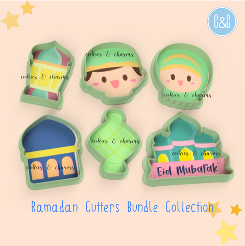Eid Bundle comes in 6 Cookie cutters: Malay Girl & Boy, Chubby Ketupat(Cutter only), Chubby Mosque, Mosque with plaque, Lantern.