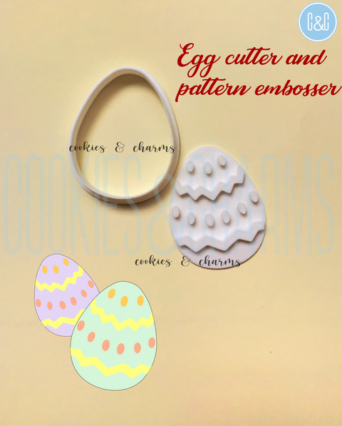 Egg Shape Cookie Cutter and Pattern Embosser Set from Cookies and charms