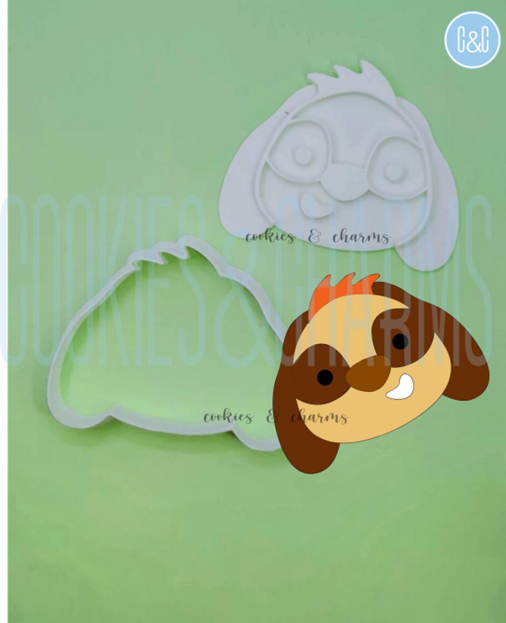Timon Cookie Cutter and stamp