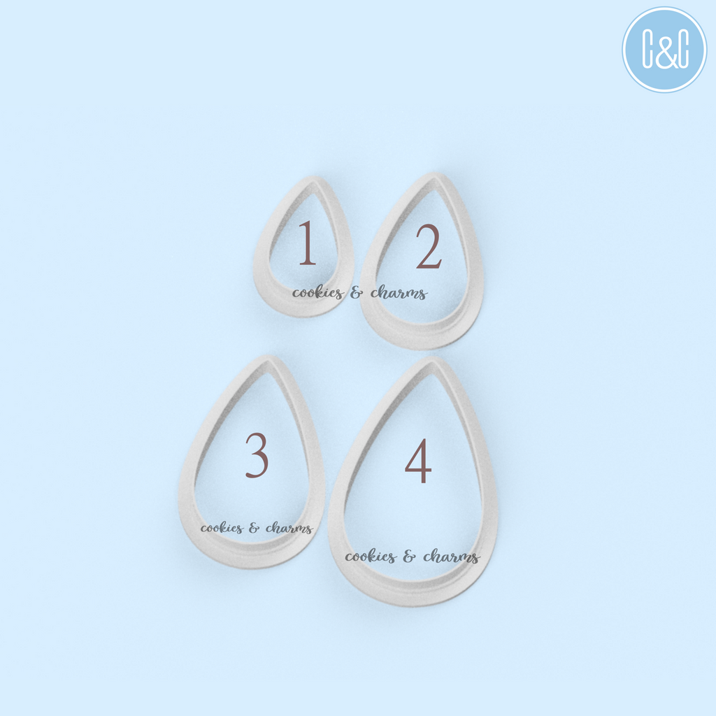 Teardrop Clay Cutters comes with 4 different sizes.